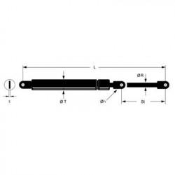 Ressort à gaz 10 / 22  longueur 485 mm  1150 N