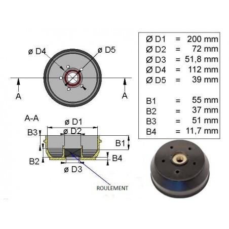 Tambour KNOTT D 200  freins 20-2425  112 x 5  rlt cartouche 39-72-37